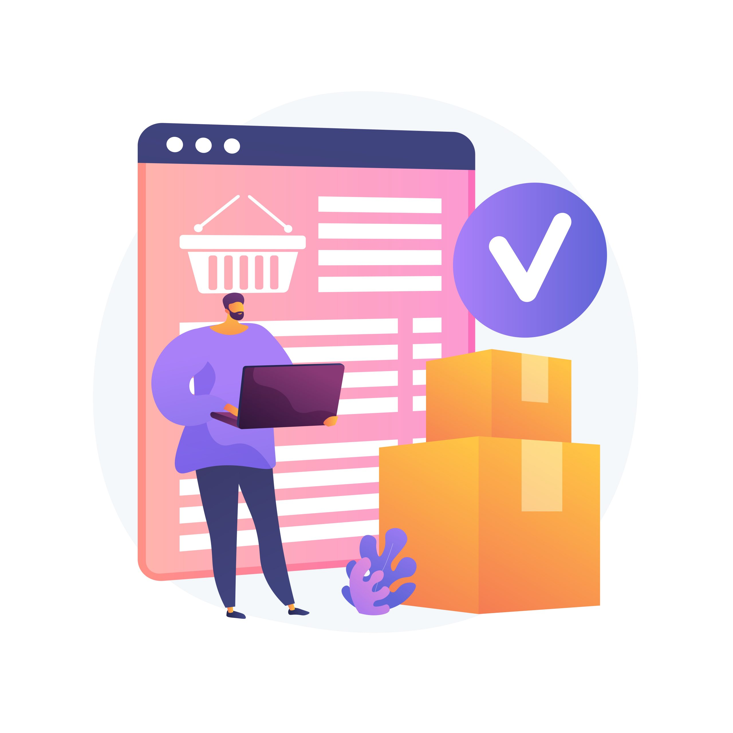 Online order delivery service, shipment. Internet shop basket, cardboard boxes, buyer with laptop. Delivery note on monitor screen and parcel. Vector isolated concept metaphor illustration.